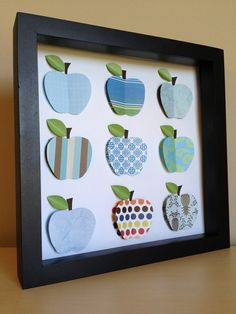 Blue Apples, 3D Paper Art. $35.00, via Etsy.