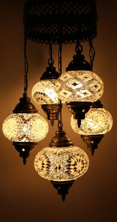 Turkish Style Mosaic Hanging Lamp Light Hand Craft 4 Medium 1 Large Globe