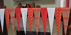 Christmas Fireplace Mantel Scarf.  Elegant Christmas Mantel Banner,  Mantel Scarf. Silver Snowflakes, Red, Gold & White Mantel Scarf. by shesewsfine2 on Etsy