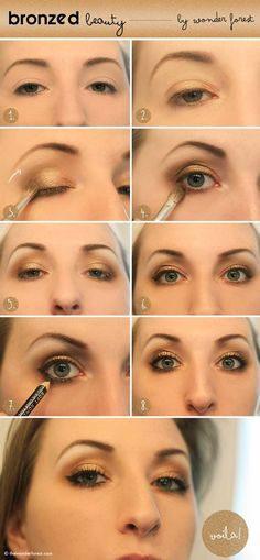 Tips to Help You Look Tan - Bronze Beauty: Golden Smokey Eye Tutorial - Easy DIY Tips and Tricks on How To Apply Self Tanner and How To Make Sprays, Products and Lotions - Learn What is the Best Self Tanner for All Different Faces - Get a Natural Looking Sun Kissed Style for Summer - https://thegoddess.com/sunless-tanning-tips