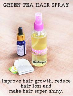 Green Tea Hair Spray to reduce hair fall Green Hair Spray, Green Tea For Hair, Natural Shampoo, Natural Hair Care, Natural Hair Styles, Natural Face, Natural Beauty, Homemade Beauty, Diy Beauty