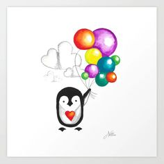 Party Penguin Art Print by nellene Penguin Art, Design 24, Welcome Mats, Wood Wall Art, Wall Tapestry, Wall Murals, Picnic Blanket, Gallery Wall, Art Prints
