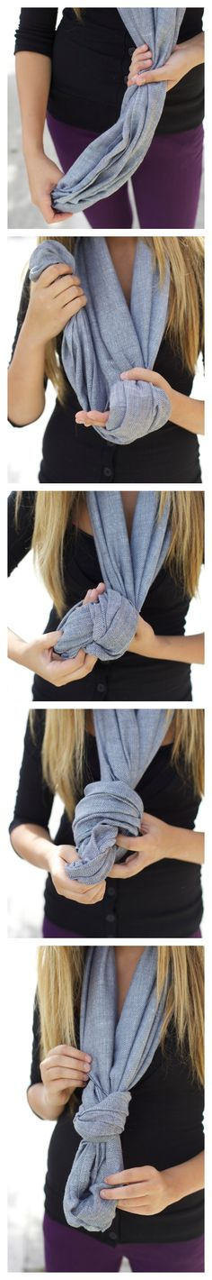 Got that infinity scarf that you only know how to tie one way? Do it this way instead!! Super easy, super cute!