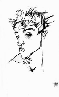 Egon Schiele - Self Portrait, 1913 - (Austrian 1890-1918)