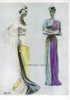 Vintage Vogue Magazine 1938 Fashion Magazine Advertisement Ad Jessie Franklin Turner Grafstrom Illustration Evening Dress