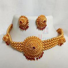 1 Gram Matte Choker Set Short Necklace 1 Gram Gold Jewellery, Temple Jewellery, Bridal Jewellery, Gold Jewelry, Short Necklace, Necklace Set, India Jewelry, Jewelry Sets, Online Shopping
