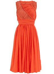 Orange ruched 50s dress #dress #fashion #dorothyperkins #chic #style #shopcade   USE DPOFFFER20 for 20% Off through 6/27/12.