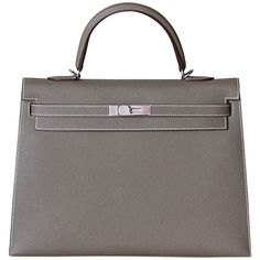 Pre-owned HERMES Kelly Epsom Etoupe sellier 35' ($19,000) ❤ liked on Polyvore…