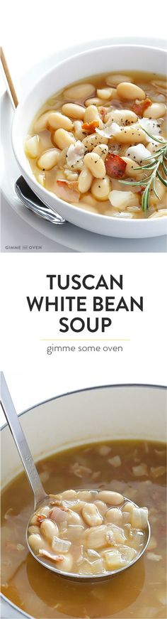 7-Ingredient Tuscan White Bean Soup -- this Italian recipe is made with delicious easy ingredients, and ready to go in about 30 minutes! | http://gimmesomeoven.com