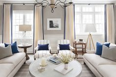 Greenwich, CT Pied-a-terre- Living Room by S.B. Long Interiors