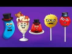 """Watch and enjoy """"Jelly Bean, Ice Cream, Jelly, Cake Pop, and Lollipop Finger Family Songs"""" nursery rhyme for children. """"Watch Our Elephant Finger Family Nurs. Finger Family Rhymes, Family Songs, Kids Songs, Baby Finger Song, Mommy Finger, Lollipop Candy, Candy Pop, Kids Nursery Rhymes, Rhymes For Kids"""