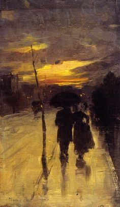 tom roberts:  going home 1889.  Something really nice about this, like it's the end of a long day and supper is waiting on the table for the couple as they stroll down their street.