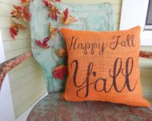 HAPPY FALL Y'ALL Square Orange Burlap Style Fall Thanksgiving Painted Decorative…