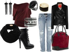 """""""Black Cranberry Fashion Look"""" by nicole-gordon-phillips on Polyvore"""