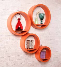 Dream Arts Orange Round Wall Shelf (Set of 4 ) by Dream Arts Online - Wall Shelves - Home Decor - Pepperfry Product