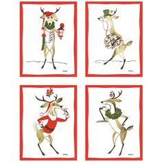 Constance Depler Reindeer Cards from Galison Cocktail Napkins, Elk, Note Cards, Reindeer, Moose, Holiday, Christmas, Illustrations, Anime