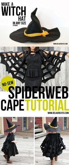 "halloweencrafts: "" DIY Halloween Witch Costume Tutorial from Delia Creates. Make a DIY Witch Costume that includes a DIY Spiderweb Cape and a DIY Hat. • DIY Witch Hat Tutorial here. This is made from heavy felt. • DIY No Sew Spiderweb Cape here...."