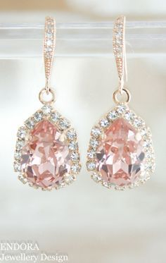 Blush crystal earrings | Blush wedding | Swarovski Vintage rose (blush) | Blush bridal earrings | rose gold blush wedding | www.endorajewellery.etsy.com
