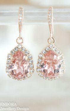 Blush crystal earrings | Blush wedding | Swarovski Vintage rose (blush) | Blush bridal earrings | rose gold blush wedding | www.endorajewellery.etsy.com