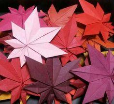Origami maple leafs