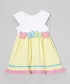 This Yellow Gingham Butterfly Dress - Toddler & Girls by Youngland is perfect! #zulilyfinds