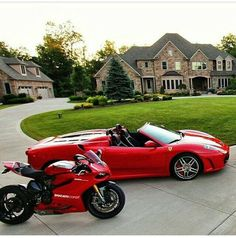 red convertible Ferrari next to motorcycle and mansion Ferrari, Lamborghini Aventador, Bugatti, Dream Cars, Luxury Cars, Luxury Vehicle, Vintage Motorcycles, My Ride, Hot Cars