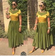 Top Green shweshwe dresses for 2018 - Reny styles Seshweshwe Dresses, African Dresses For Women, African Attire, African Fashion Dresses, African Clothes, Woman Dresses, Dress Outfits, African Print Fashion, Africa Fashion