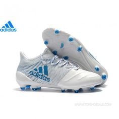 Adidas X 17 1 Leather Fg Football Boots White Blue Authentic Sneaker 039130e146b1d