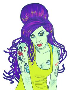 Amy Winehouse, tattoos, illustration, beehive, purple, rockabilly, zombie, hair, cat eye, red lips