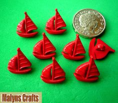 8 RED YACHT Craft Themed Buttons Boat Summer Seaside Sailing Sea Retro Kitsch | eBay
