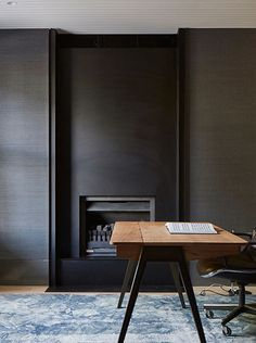This office feels so contemporary and European with the minimalist design and color palette. Modern Fireplace, Fireplace Wall, Fireplace Surrounds, Fireplace Design, Fireplace Mantels, Fireplaces, Foyers, Interior And Exterior, Interior Architecture