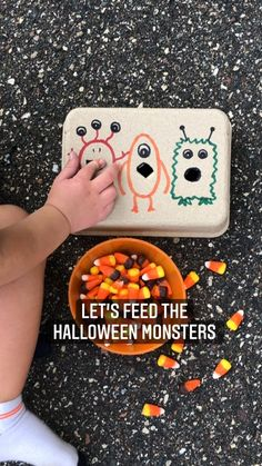 littleoneslearn on Instagram: FEED THE HALLOWEEN MONSTERS 🎃👻 Another reason to break out the candy corn for Fall fine motor fun! Grab a small cardboard box 📦, draw your…