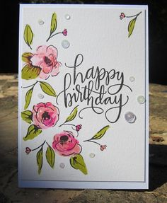 33 Ideas Birthday Flowers Happy Stamps For 2019 Watercolor Birthday Cards, Birthday Card Drawing, Watercolor Cards, Happy Birthday 手書き, Happy Birthday Painting, Happy Birthday Doodles, Happy Birthday Drawings, Birthday Nails, Birthday Cupcakes