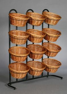 Are you looking for a fabulous way to display some smaller retail items? Look no further than these perfect 4 Tier 12 Round Willow Basket Display rack! Bakery Design, Cafe Design, Restaurant Design, Interior Design, Deco Cafe, Vegetable Shop, Vegetable Storage, Fruit Shop, Shop Interiors