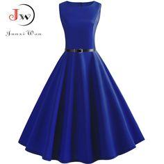 0588a9d20415fc Blauw Vintage Swing Jurk Vrouwen Zomer Dot Zomer Casual Midi Jurken  Elegante Feestjurk Vestido Tuniek Plus