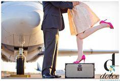 Engagement session, plane engagement session, travel theme, wedding photography. dolcephotos, dolcephotos.com