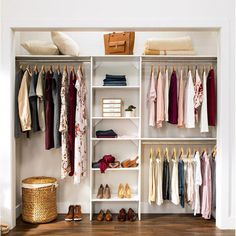 SuiteSymphony W - W Closet System Bring harmony to your master suite or walk-in closet with this essential SuiteSymphony W - W Closet System, featuring a storage tower and 3 rods Bedroom Closet Design, Closet Designs, Bedroom Storage, Small Closet Design, Small Master Closet, Fitted Wardrobe Interiors, Bedroom Turned Closet, Small Walkin Closet, Spare Room Closet
