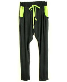 Neon Tie Waist Hareem Trousers