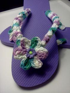 Ladies Flip Flops in Pretty Purple by grammalea on Etsy, $12.50