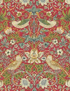 Strawberry Thief by William Morris. The Original Morris & Co - Arts and crafts, fabrics and wallpaper designs by William Morris & Company William Morris Wallpaper, William Morris Art, Morris Wallpapers, Arts And Crafts For Teens, Arts And Crafts House, Red Wallpaper, Fabric Wallpaper, Pattern Wallpaper, Vintage Wallpaper Patterns