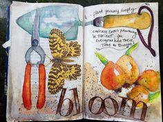 BLOOM JOURNAL PG by Valerie Weller | Flickr - Artist Journal, Art Journal Pages, Art Journaling, Watercolor Journal, Pen And Watercolor, Sketchbook Inspiration, Art Sketchbook, Nature Journal, Garden Journal