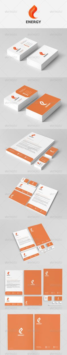 Energy Stationery  #business cards #presentation #red • Click here to download ! http://graphicriver.net/item/energy-stationery/3895142?ref=pxcr