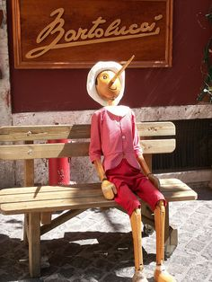 Taken in Rome, Italy ~ Bartolucci has the cutest handmade items and many Pinocchio's ... tucked away in a side street