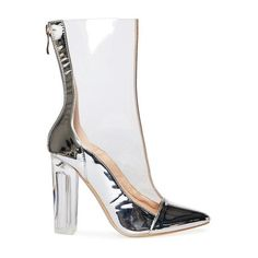 Jarah Silver Patent And Clear Perspex Ankle Boot (185 BRL) ❤ liked on Polyvore featuring shoes, boots, ankle booties, patent leather boots, patent leather booties, silver booties, bootie boots and lucite booties