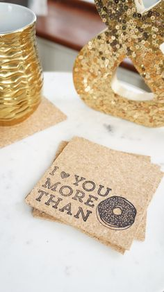 I Love You More Than Donuts Coasters - Set of 6 Valentines Day Decor - Romantic Gifts for Husband - Valentine Gift for Boyfriend - Kitchen