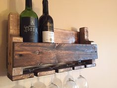 Each wine rack is handmade one piece at a time. Each piece of wood used is hand selected for its unique character and grain style. This wine