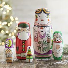 Russian matryoshka nesting dolls hand painted by Suzy Ultman for Crate and Barrel. Owl, Santa, Christmas Tree