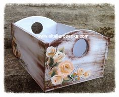 El taller de Erika Decoupage Box, Decoupage Vintage, Wood Crates, Wood Boxes, Wood Box Decor, Craft Projects, Projects To Try, Altered Boxes, Mason Jar Crafts