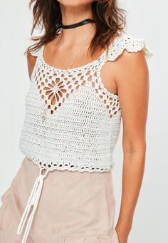 White Tie Hem Crochet Knitted Crop Top - Missguided