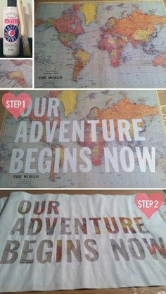 For kids' clinic--maybe YOUR adventure begins now.   DIY Map Graphic DIY home decor wall art